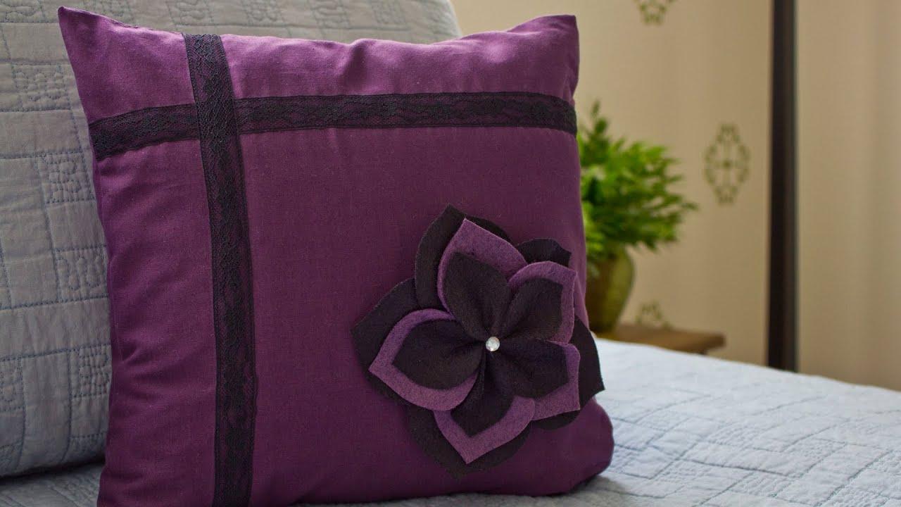 how to make a flower pillow sham youtube. Black Bedroom Furniture Sets. Home Design Ideas