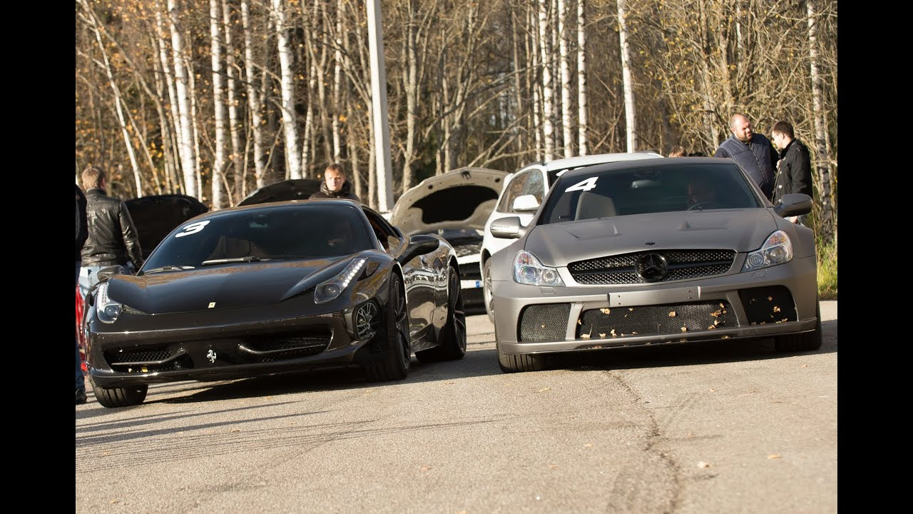 Mercedes Sl 65 Amg Black Series Stock Vs Ferrari 458