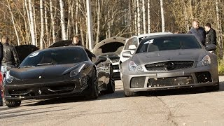 Mercedes SL 65 AMG Black Series (Stock) vs Ferrari 458 Italia (Stock). Att. bad sound quality
