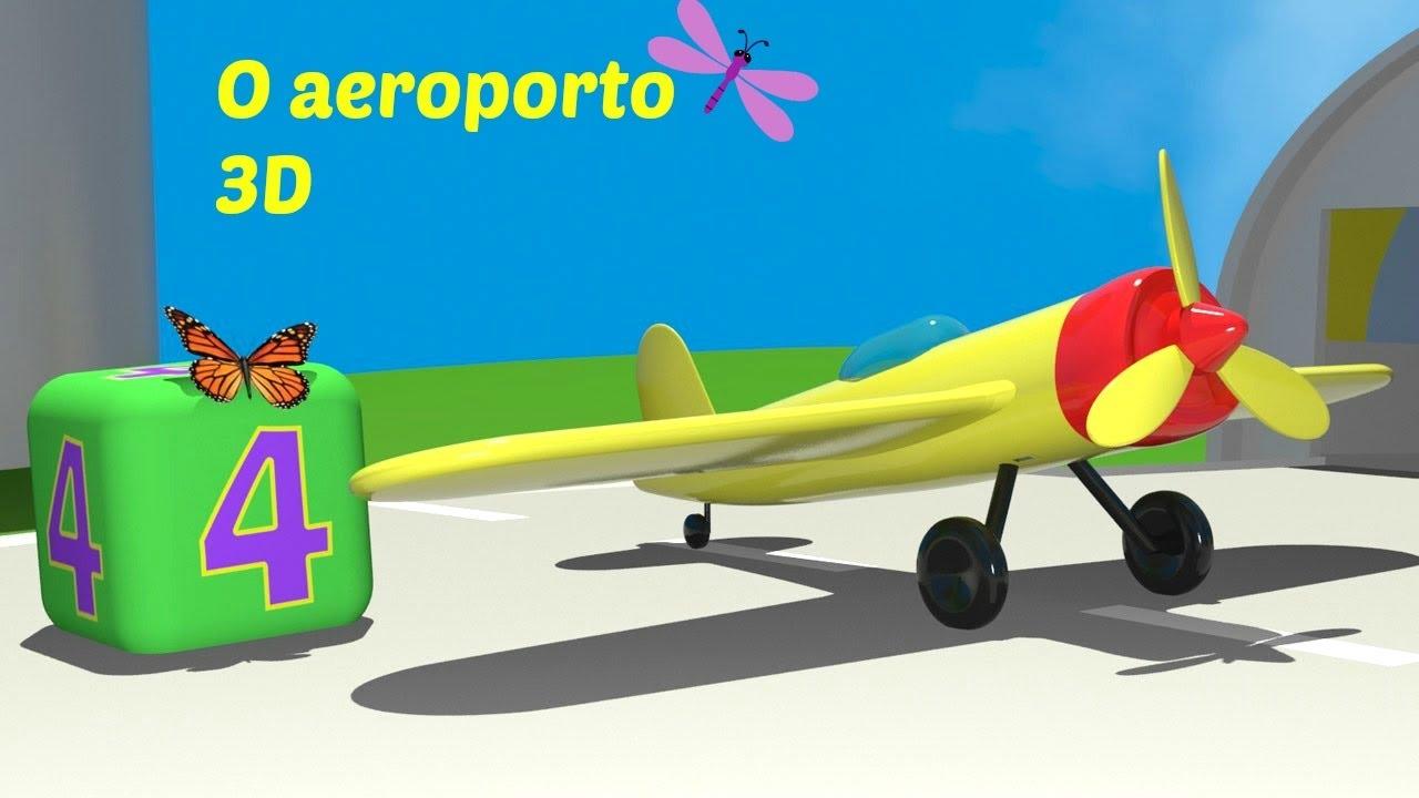 O Aeroporto 3d Um Novo Aviao E Um Helicoptero Desenhos Para