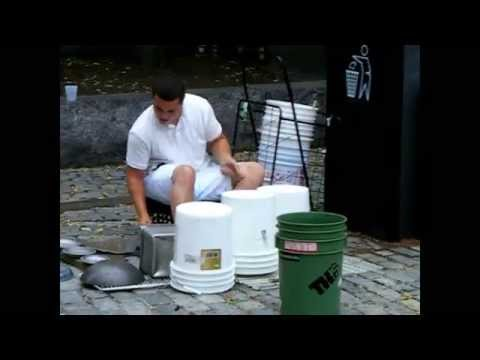 """Street Performer """"Bucket Rodriguez"""" in Faneuil Hall, Boston, July 15, 2014"""