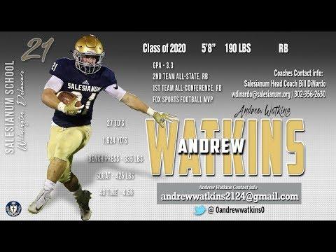 Andrew Watkins, 2020 - 2018 Highlights, Salesianum School