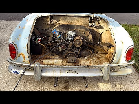 FIRST START IN 45 YEARS - 1967 VW Karmann Ghia - Will It Run? RUSTY RESTORATION!!! Volkswagen, VW CT