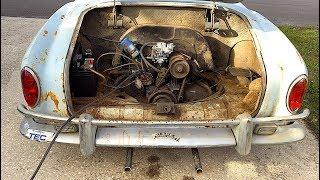 FIRST START IN 45 YEARS - 1967 VW Karmann Ghia - Will it Run? RUSTY RESTORATION!!! Volkswagen, VW CT