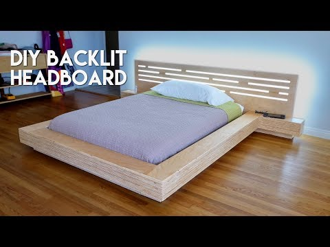 DIY Modern Plywood Platform Bed Part 2 : LED Backlit Headboard Build - Woodworking