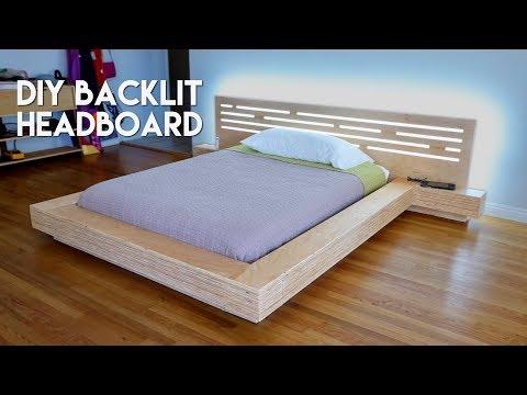DIY Modern Plywood Platform Bed Part 2 : LED Backlit Headboard Build - Woodworking