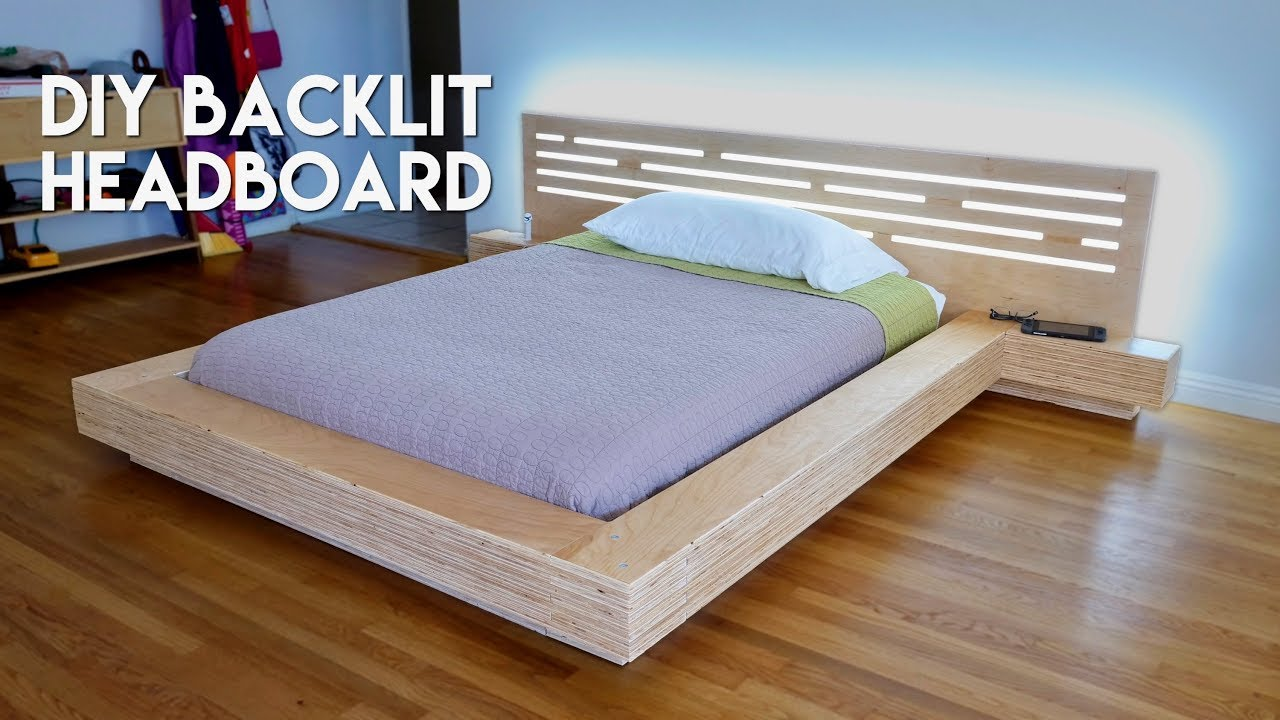 Diy Modern Plywood Platform Bed Part 2 Led Backlit Headboard Build Woodworking Youtube