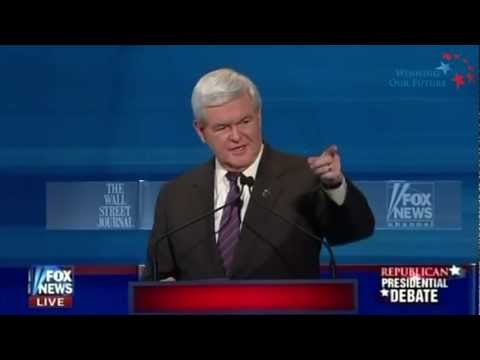 Newt Destroys Moderator Juan Williams & Obama on Race Card, Food Stamps, & Laziness
