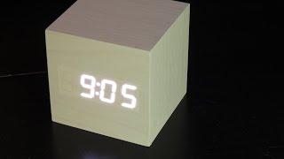 Wood cube LED alarm clock review/setup