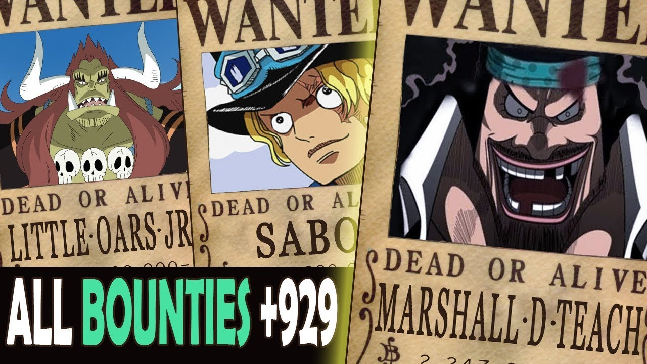 All Bounties updated to chapter 929+ in ONE PIECE [After Whole Cake Island Arc.]