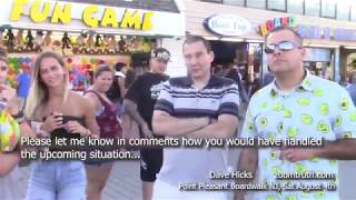 Flat Earth Triggers FREAKOUT  F BOMBS on the Boardwalk!