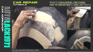 Car repair (putty sanding method). Aplicación de masilla auto