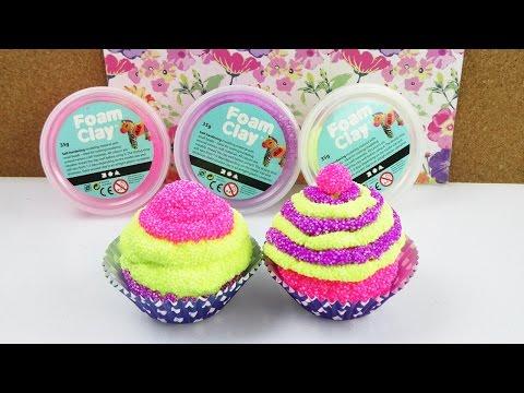 Wolkenschleim Cupcake | Lustige & Bunte Kuchen Deko aus Foam Clay selber machen | DIY