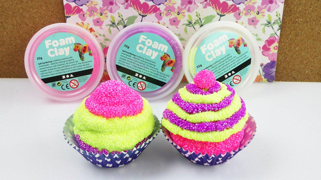Download Wolkenschleim Cupcake | Lustige & Bunte Kuchen Deko aus Foam Clay selber machen | DIY