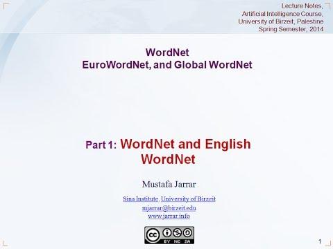 Jarrar: WordNet- EuroWordNet and Global WordNet (Part 1/3)