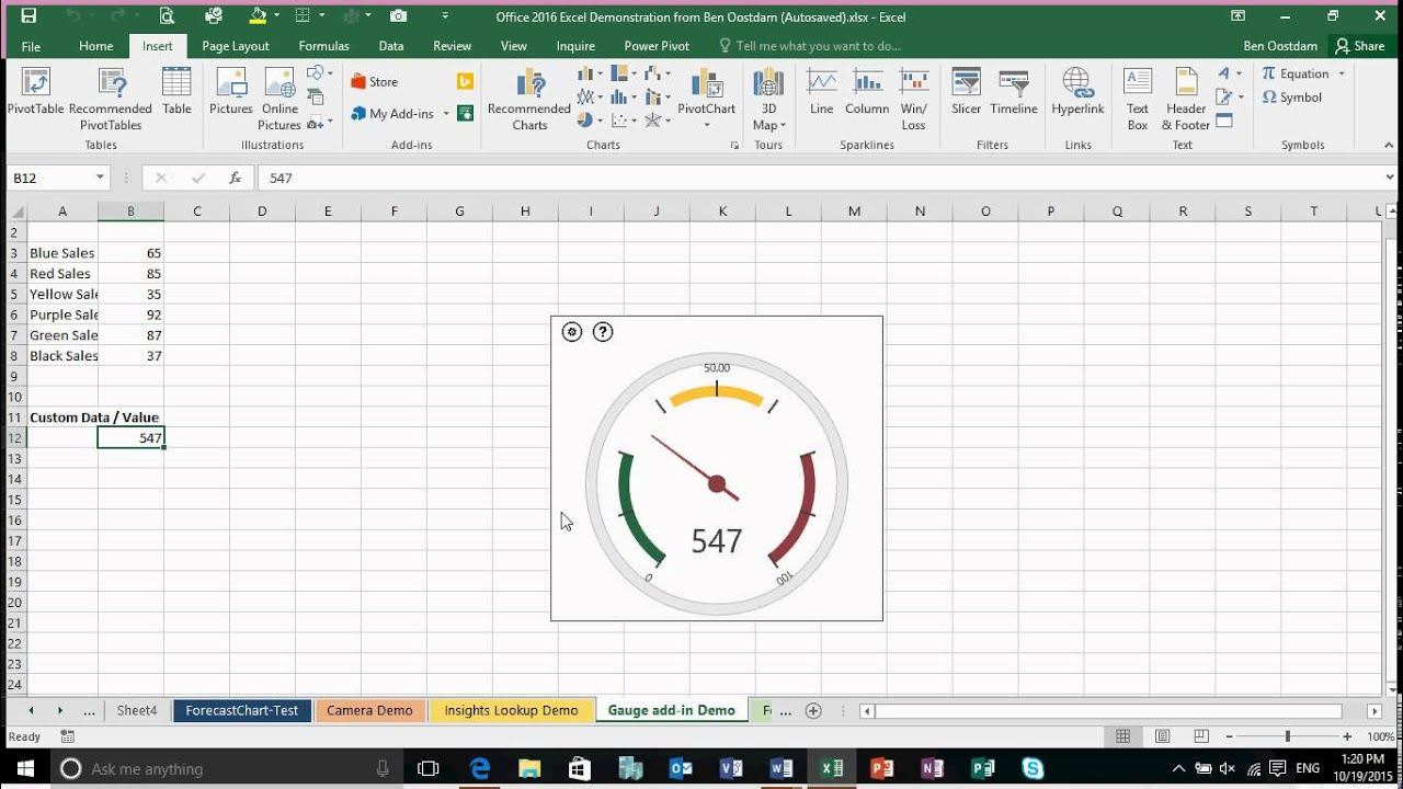 Excel  quick look the gauge add in also youtube rh