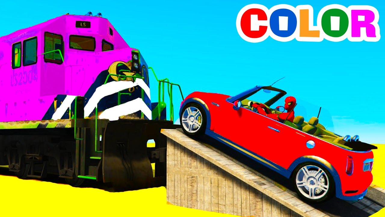 Colour cars rhymes - Small Cars On Train Learn Colors Numbers For Kids Spiderman Color Cars Cartoon Nursery Rhymes