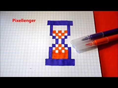 Песочные часы Очень простой рисунок Как нарисовать по клеточкам в тетради Пиксель Арт