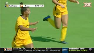 Sophomore addison clark scored a golden goal in the 103rd minute to lead west virginia university women's soccer team 2-1 win over big 12-leader tex...
