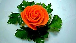 Роза из моркови. Flowers from carrots. Decoration of carrots.(My page on Facebook Моя страница на Facebook https://www.facebook.com/carvingfantasis ПОДПИСЫВАЙТЕСЬ В МОЮ ГРУППУ ..., 2014-01-26T05:51:47.000Z)