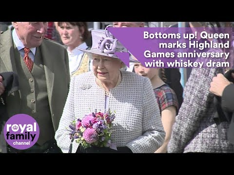 Bottoms up! Queen marks Highland Games anniversary with whiskey dram