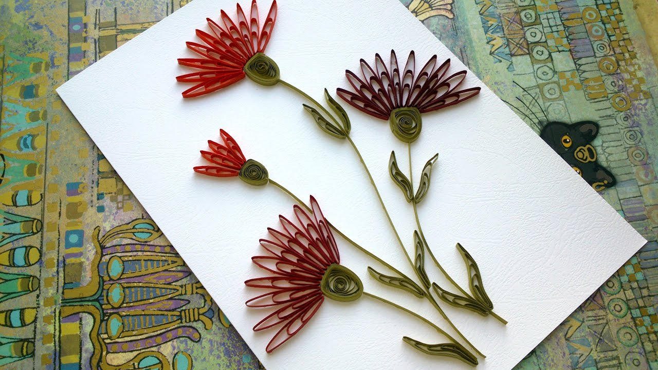 Quilling Flowers Tutorial Carnation Wiht A Comb Card