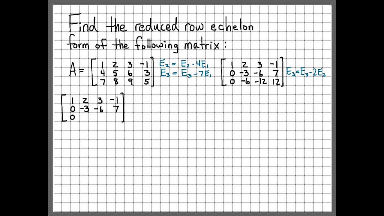 Linear Algebra Example Problems - Reduced Row Echelon Form