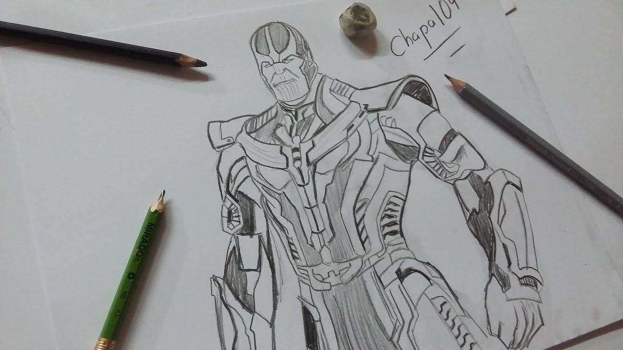 Dibujo De Thanos Avengers Infinity War/ Drawing Thanos Avengers Infinity War - YouTube