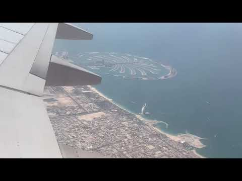 Dubai International Airport | Take off | Palm Jumeirah | World Island | Burj Khalifa