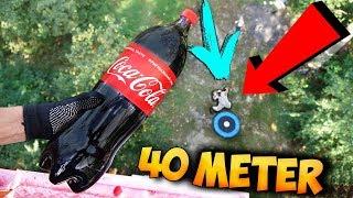Was passiert wenn man Coca Cola aus dem 13 Stock des Feuerwehrturms auf Trampolin schmeißt?!