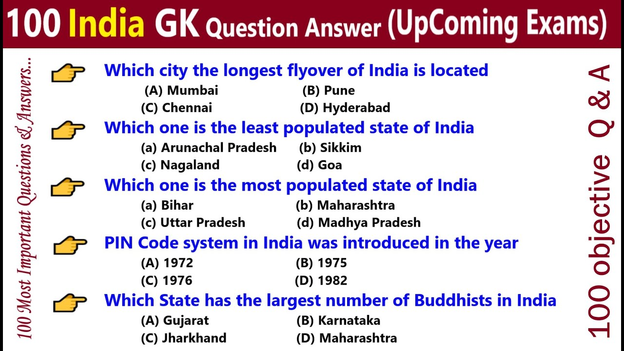 100 objective Questions and Answers in English | India GK ...