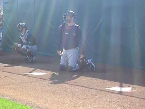 Joe Mauer catching at Spring Training practice 2/25/10
