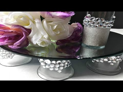 DIY | BLING MIRRORED WEDDING CAKE STAND | VANITY TRAY | CENTERPIECE STAND