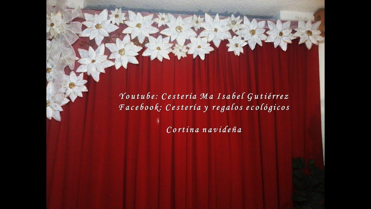 Cortina navide a diy how to make a christmas curtain for Cortinas navidenas para sala