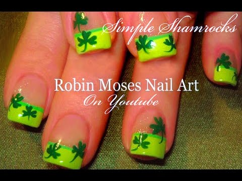 #inspiredbyrobinmoses #nailart #robinmoseswizards - Easy St. Paddy's Day Nails St. Patricks Day Nail Art Shamrock