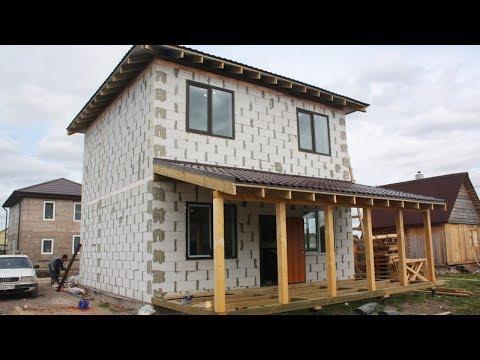 Строительство коробки дома из газобетона 7,3х7,3 метров за 2,5 минуты