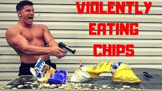 Bodybuilder Violently Eats Potato Chips *DANGEROUS CHALLENGE* | Airsoft Gun and Knife VS Food