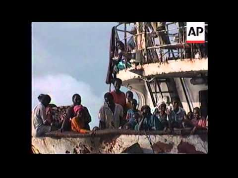 SIERRA LEONE: LIBERIAN REFUGEES STRANDED ON SHIP OFF COAST