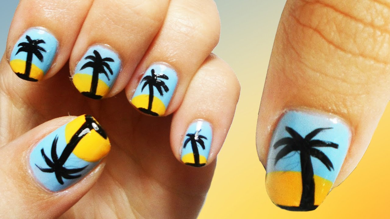Oasis Beach Nail Art Tutorial - YouTube