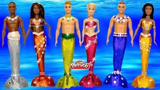 DIY How to Make Play Doh Sparkle Mermaid Dresses for Barbie Dolls