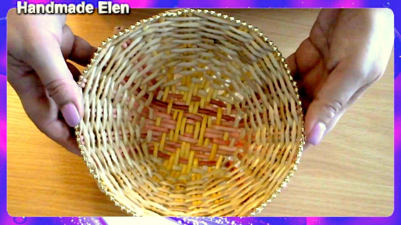 DIY tutorial weaving newspapers how to make a paper plate tejiendo periódicos cómo hacer un plato : weaving on a paper plate - Pezcame.Com