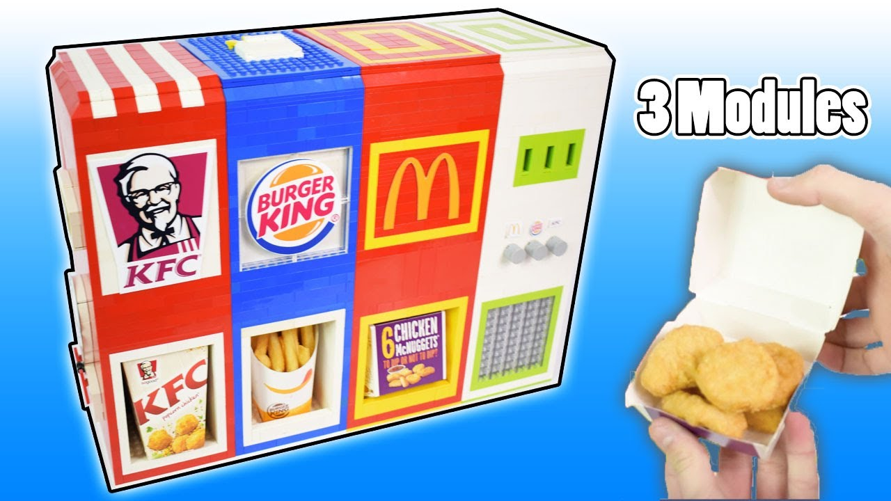 Ultimate Mechanical Lego 3 In 1 Fast Food Vending Machine Mcdonalds Burger King And Kfc