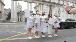 Brides-to-be march to Government Buildings to urge allowance of 100 wedding guests