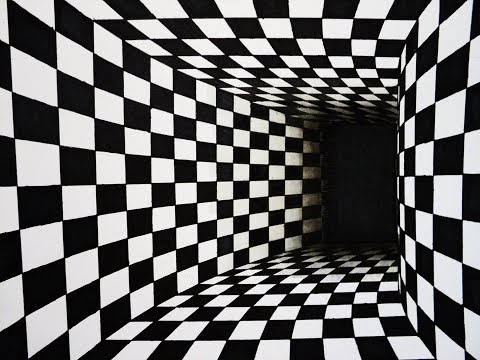 How to draw - chess pattern turning tunnel 3d illusion - one point perspective