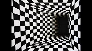 How to draw chess pattern turning tunnel 3d illusion one point perspective