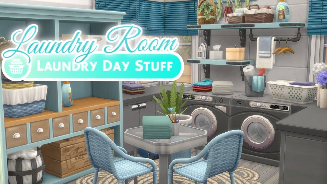 BLUE LAUNDRY ROOM | The Sims 4: LAUNDRY DAY STUFF PACK (No CC) - YouTube