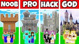 Minecraft: FAMILY CASTLE HOUSE BUILD CHALLENGE - NOOB vs PRO vs HACKER vs GOD in Minecraft