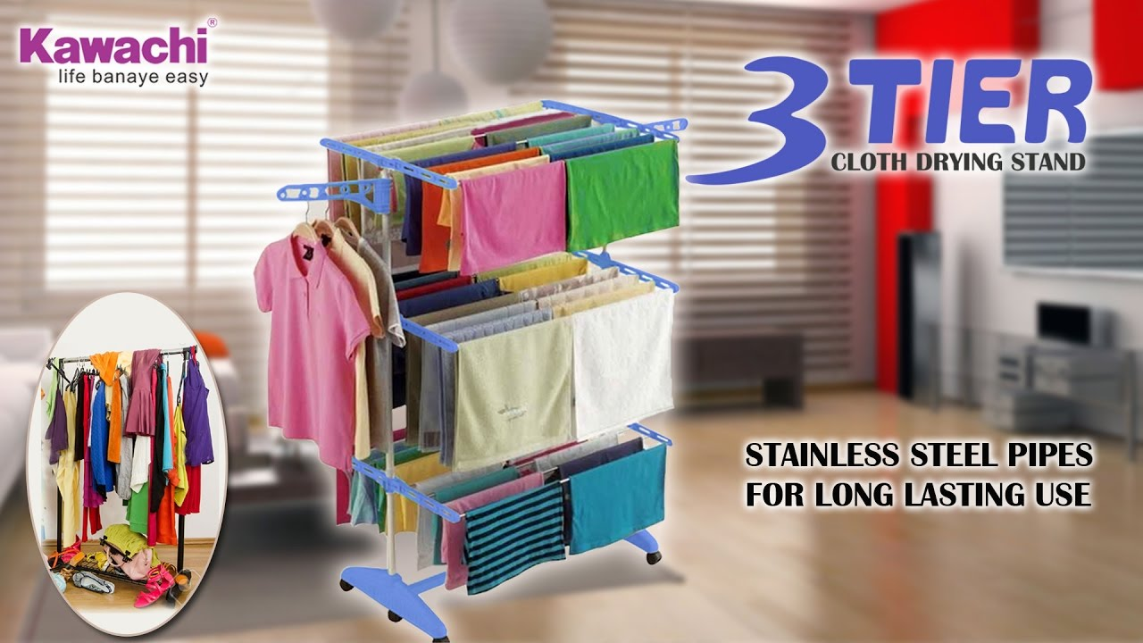 Cloth Hanger Stand How To Use Kawachi Stainless Steel Power Dryer Easy Cloth Drying Stand कलथ डरइग सटड
