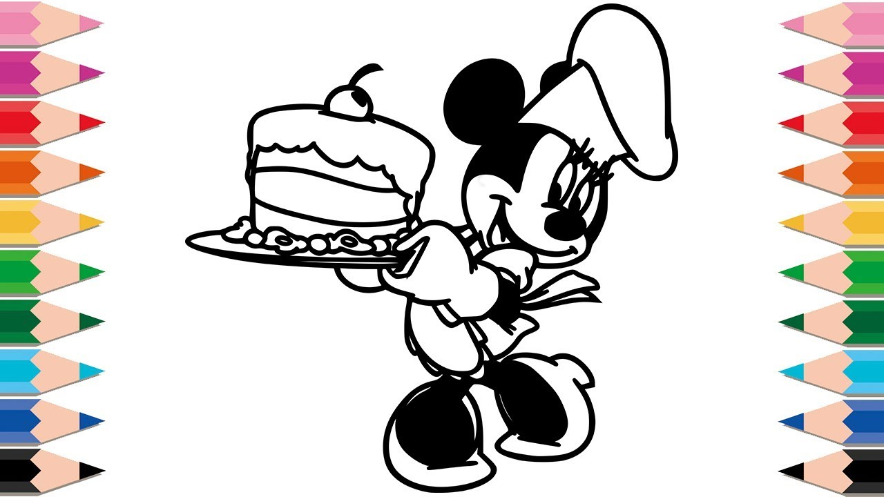 How To Draw Minnie Mouse Cooking A Cake For Kids Drawing And Coloring Pages  Learn Colors For Kids