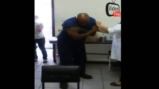 BLACK MAN SCREAMS LIKE A GIRL WHEN HE SEES A NEEDLE IN THE HOSPITAL